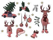 De pictogrammen en de tekens van de Kerstmiskrabbel in vector vector illustratie