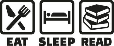 De pictogrammen eten gelezen slaap stock illustratie