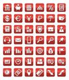 De pictogrammen financieren rood Stock Afbeeldingen