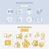 De pictogrammen horizontale banners van het financiënbankwezen het netwerk van contant geld behandeling, verbindingen en acties m royalty-vrije illustratie