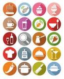 De pictogrammen, keuken, restaurant, voedsel, dranken, werktuigen, kleurden, vlakte Stock Foto
