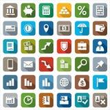 De pictogrammen kleurden Financiën Stock Fotografie