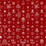 De pictogrammen naadloos patroon van het Kerstmisoverzicht Stock Foto