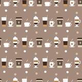 De pictogrammen naadloos patroon van koffiekoppen Stock Foto's