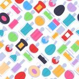 De pictogrammen naadloos patroon van parfumflessen Eau DE parfum Stock Afbeelding