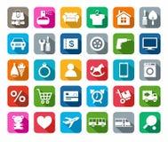 De pictogrammen, online opslag, categorieën van producten, kleurden achtergrond, schaduw Stock Foto's