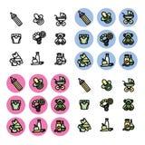 De pictogrammen op het thema van kinderendingen dat worden geplaatst Royalty-vrije Stock Afbeelding