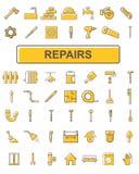 De pictogrammen op het thema van reparatie Stock Afbeelding