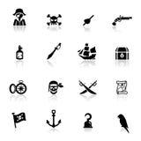 De pictogrammen plaatsen piraten Stock Afbeeldingen