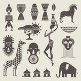 De pictogrammen van Afrika Stock Foto's