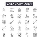 De pictogrammen van de agronomielijn De tekens van de Editableslag Conceptenpictogrammen: landbouw, de landbouw, installatie, lan royalty-vrije illustratie