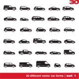 De pictogrammen van auto's plaatsen 1 Royalty-vrije Stock Afbeeldingen