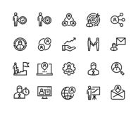 De pictogrammen van de beheerslijn Van het de verwijzingsnetwerk van het teamwerk van de de financiënorganisatie de zakenman van  stock illustratie