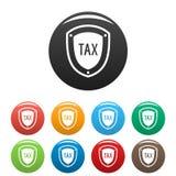 De pictogrammen van de belastingsbescherming geplaatst kleurenvector Royalty-vrije Stock Foto