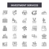 De pictogrammen van de beleggingsdienstenlijn, tekens, vectorreeks, lineair concept, overzichtsillustratie stock illustratie