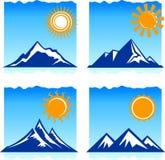 De pictogrammen van bergen Stock Foto's