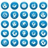De pictogrammen van de bolaarde geplaatst blauwe, eenvoudige stijl royalty-vrije illustratie