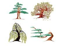 De pictogrammen van bomen Royalty-vrije Stock Foto's