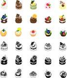 De pictogrammen van cakes Royalty-vrije Stock Afbeelding