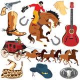 De pictogrammen van Clipart van Wilde Westennen Stock Fotografie