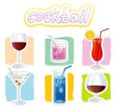 De pictogrammen van cocktails Stock Foto
