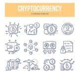 De Pictogrammen van de Cryptocurrencykrabbel vector illustratie