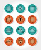 De pictogrammen van de Cyberveiligheid royalty-vrije illustratie