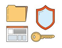 De pictogrammen van de Cyberveiligheid vector illustratie