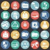 De pictogrammen van de Cyberveiligheid die op kleur worden geplaatst omcirkelt achtergrond voor grafisch en Webontwerp Eenvoudig  royalty-vrije illustratie