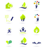 De pictogrammen van de aard, van de school en van het onderwijs Royalty-vrije Stock Foto