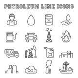 De pictogrammen van de aardolielijn Stock Afbeeldingen