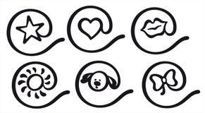 De pictogrammen van de apestaart Stock Foto