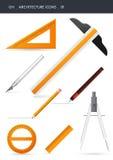 De pictogrammen van de architectuur _01 Stock Afbeeldingen