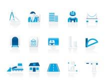 De pictogrammen van de architectuur en van de bouw Royalty-vrije Stock Afbeeldingen
