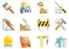 De pictogrammen van de architectuur en van de bouw Stock Afbeeldingen