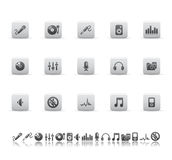 De pictogrammen van de audio en media. Royalty-vrije Stock Afbeelding
