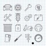 De pictogrammen van de auto Stock Foto