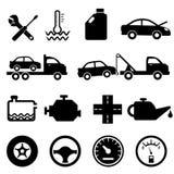 De pictogrammen van de auto, van de werktuigkundige en van het onderhoud royalty-vrije illustratie