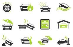 De Pictogrammen van de autoverzekering Stock Fotografie
