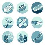 De pictogrammen van de badkamers Vector Illustratie