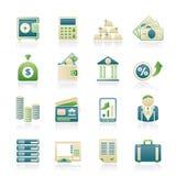 De Pictogrammen van de bank en van Financiën Royalty-vrije Stock Foto's