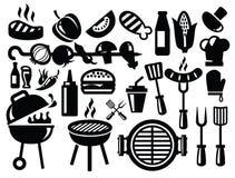 De pictogrammen van de barbecue Stock Foto's