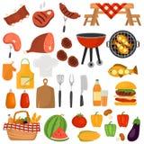 De pictogrammen van de barbecuekleur voor Web en mobiel ontwerp worden geplaatst dat Stock Foto