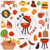 De pictogrammen van de barbecuekleur voor Web en mobiel ontwerp worden geplaatst dat Royalty-vrije Stock Afbeelding