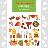De pictogrammen van de barbecuekleur voor Web en mobiel ontwerp worden geplaatst dat Royalty-vrije Stock Foto's