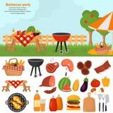 De pictogrammen van de barbecuekleur voor Web en mobiel ontwerp worden geplaatst dat Openluchtbbq tijdillustratie Royalty-vrije Stock Afbeelding