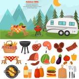 De pictogrammen van de barbecuekleur voor Web en mobiel ontwerp worden geplaatst dat Openluchtbergenbbq tijdillustratie Royalty-vrije Stock Fotografie