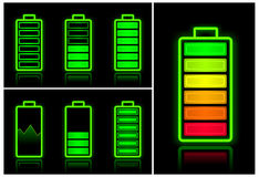 De pictogrammen van de batterij Stock Foto's