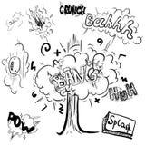 De pictogrammen van de beeldverhaalwolk in grappige boekstijl Royalty-vrije Stock Foto
