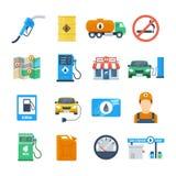 De pictogrammen van de benzinepost in een vlakke stijl stock illustratie